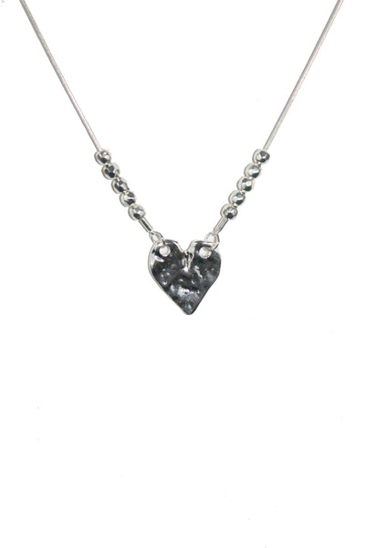 Hammered Silver Heart Chain Necklace