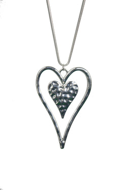 Silver Hearts Long Chain Necklace