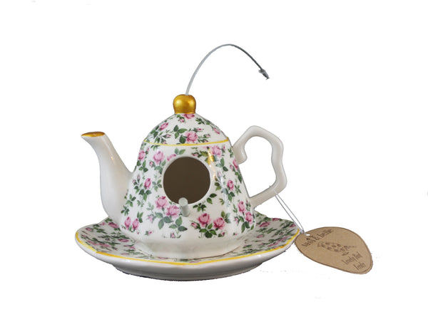 Hanging Floral Ceramic Teapot Bird House