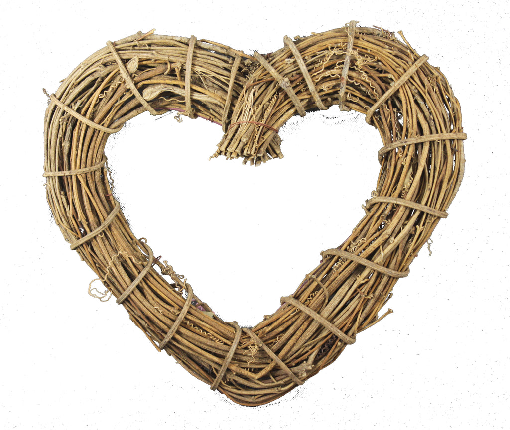 Woven Wicker Hanging Heart Decoration