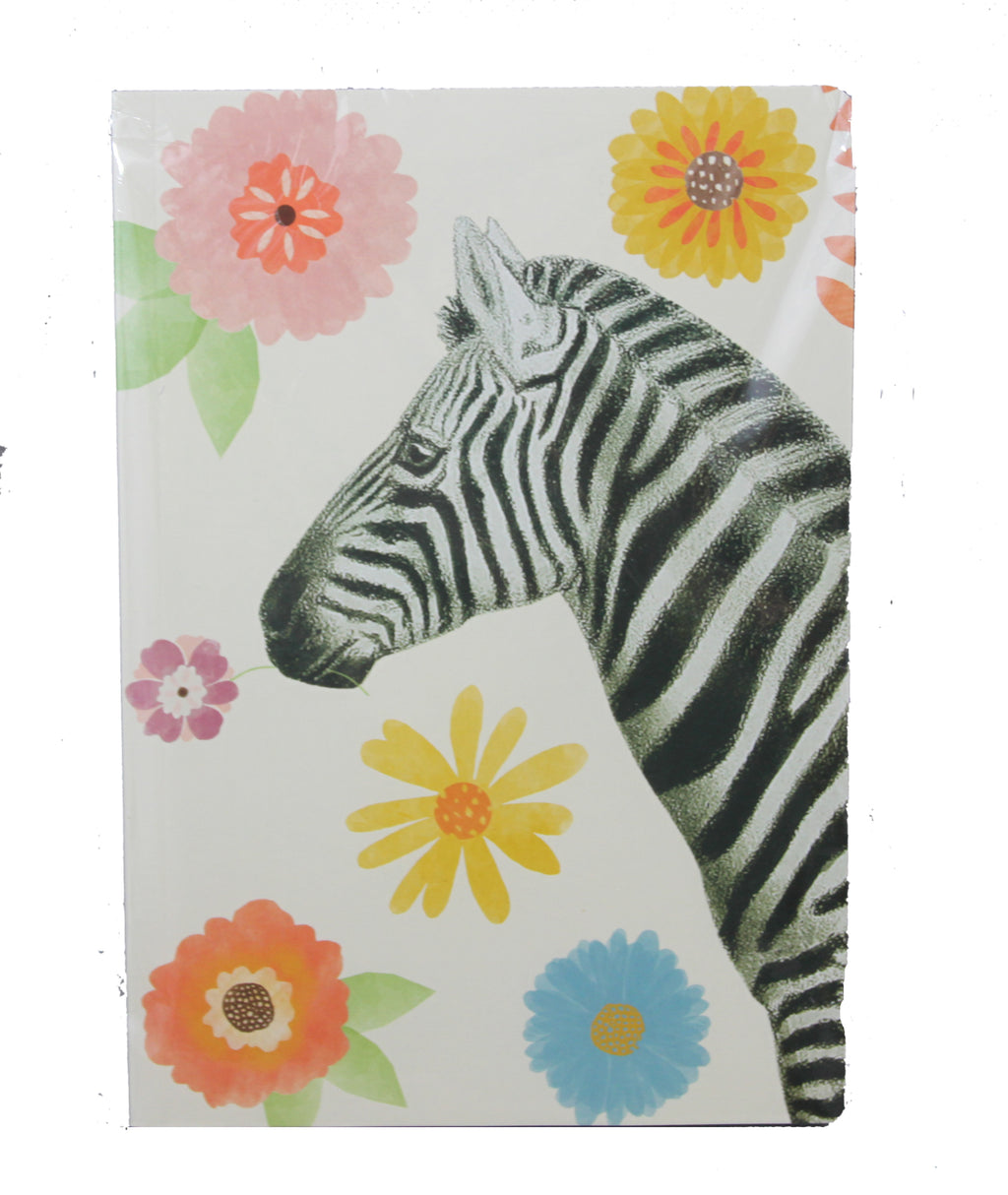 Floral Zebra Jungle Notebook - A5 Size - Blank Pages