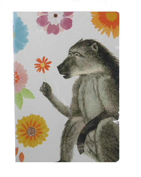 Floral Monkey Jungle Notebook - A5 Size - Blank Pages