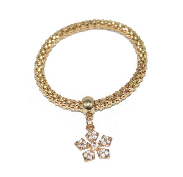 Gold Chain and Diamante Gold Flower Bracelet