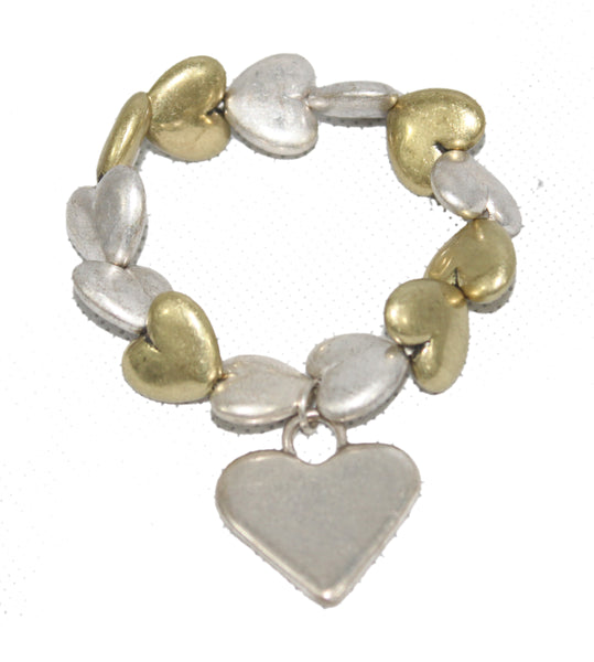Brushed Silver and Gold Hearts Bracelet