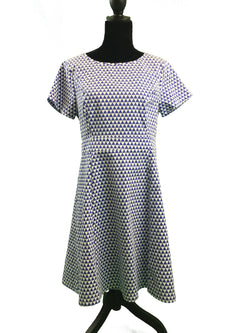 Sixton London Powder Blue and White Geometric Triangle Dress