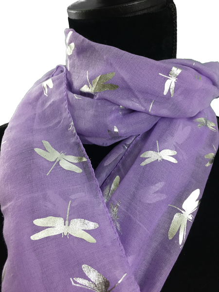 Silver Dragonfly Scarf - Various Colours