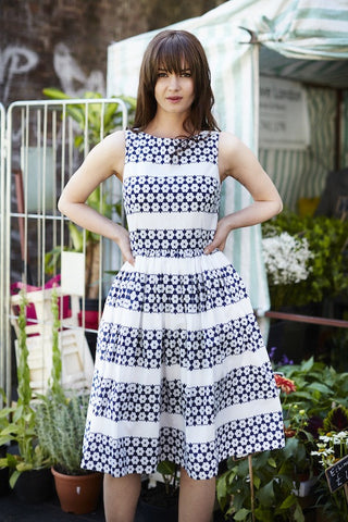 Mississippi Dress White & Blue - By Sixton London