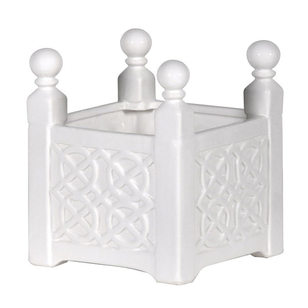 Small White Patterned Planter