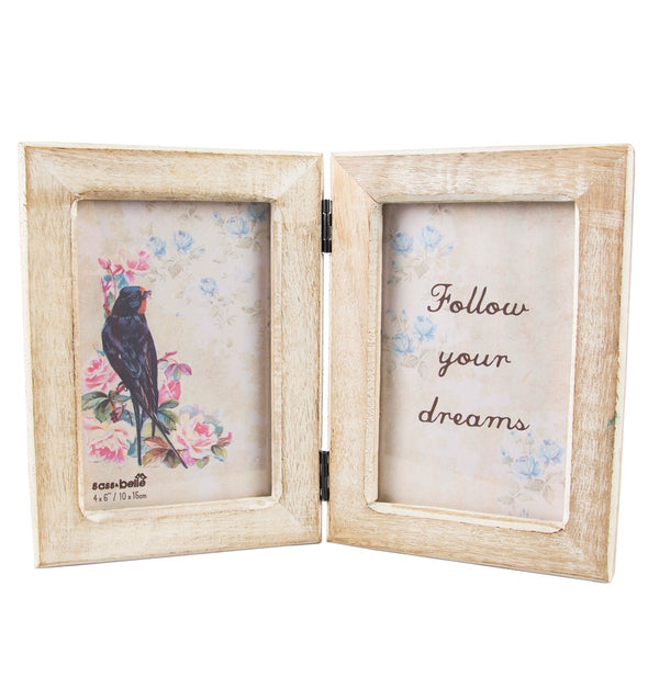 Sass & Belle Double Rustic Wood Photo Frame