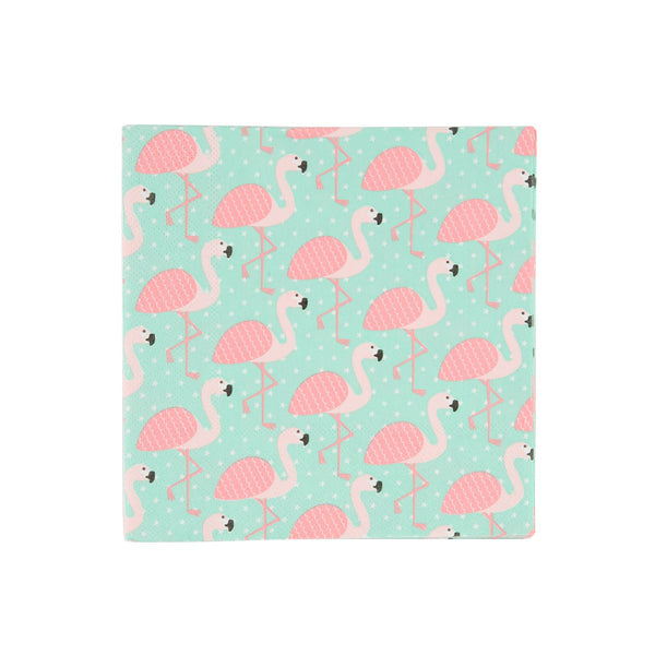 SET OF 20 TROPICAL SUMMER FLAMINGO NAPKINS