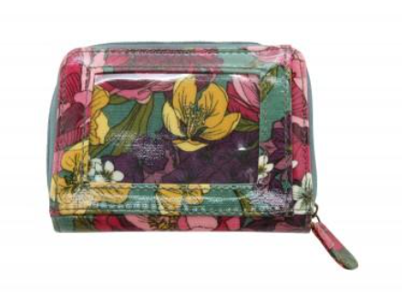Green PVC Peony Print Zip Compartment Purse 12x9x2cm