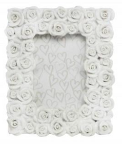 White Resin Roses Picture Frame 13.8x2x11.5cm