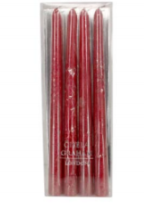Red Taper Candles Set of 4