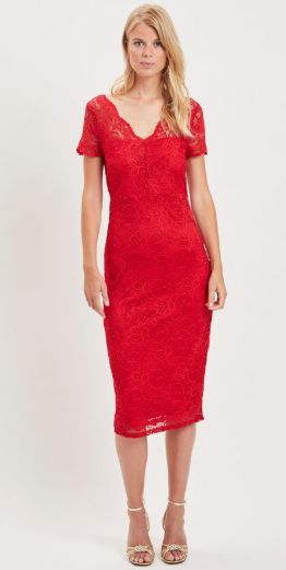 Vila Red Lace Dress