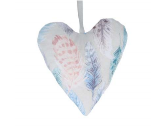 Feather Printed Filled Lavender Heart Hanging Decoration