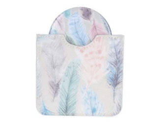 Feather Print PVC Pocket Mirror