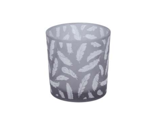 Grey White Feather Small Candle Holder
