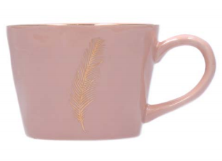 Gold Feather Pink Artisan Cermaic Mug