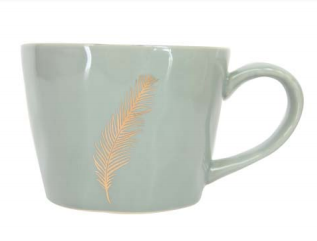 Gold Feather Sage Artisan Ceramic Mug
