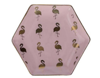 Flamingo Hexagon Trinket Dish