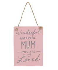 Wonderful Mum....Pink Wooden Hanging Decoration