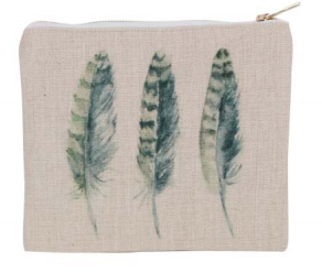 Feather Print Pouch