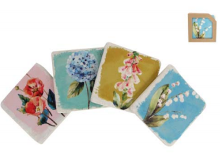 Floral Ceramic Coasters Set of 4