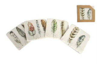 Feather Coasters Set of 4