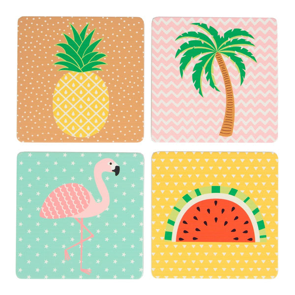 Tropical Coasters - Palm Tree, Pineapple, Watermelon & Flamingo