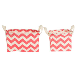 CHEVRON BASKETS CORAL PINK