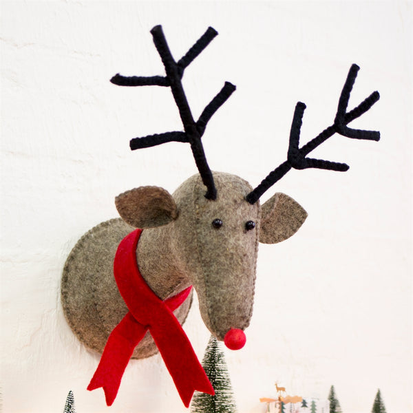 Rudi the Reindeer with Red Scarf Wall Decoration