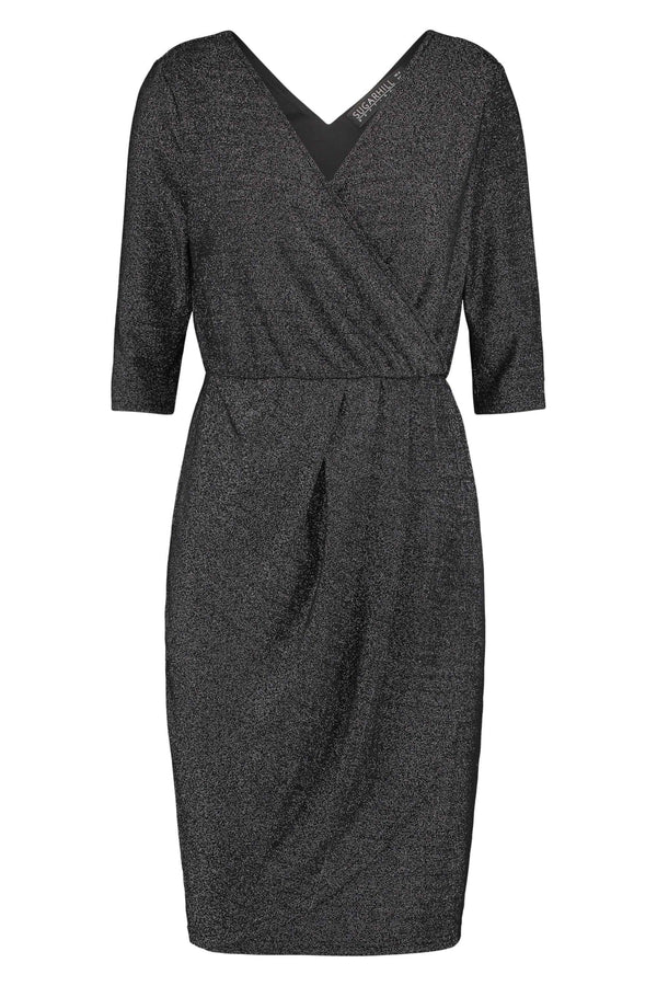 Sugarhill Boutique Millie Gunmetal Sparkle Wrap Dress