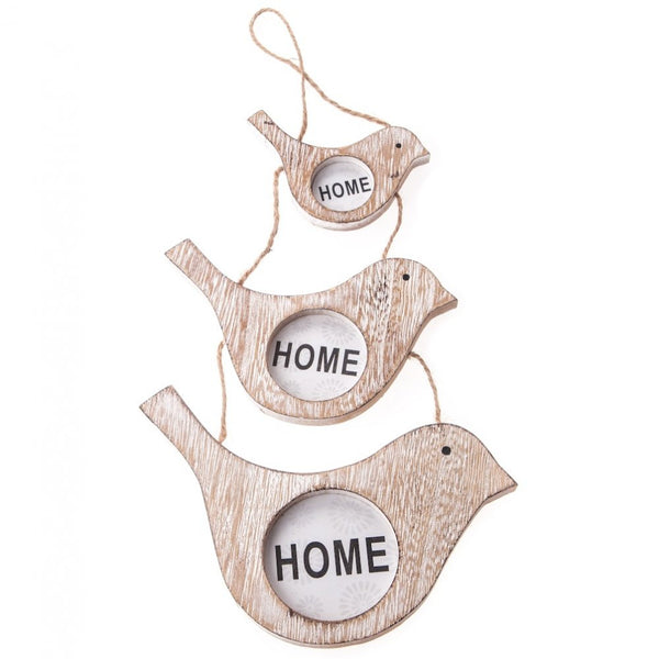 Wooden Bird Hanging Picture Frame Trio