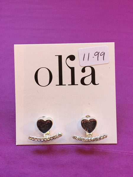 Olia Silver Heart and Diamanté Bar Stud Earrings