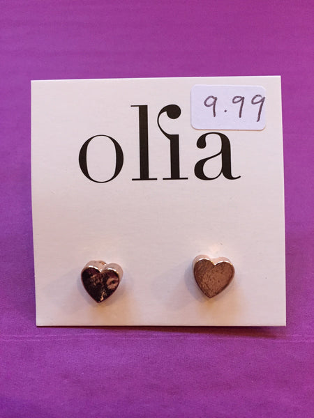 Olia Rose Gold Heart Stud Earrings