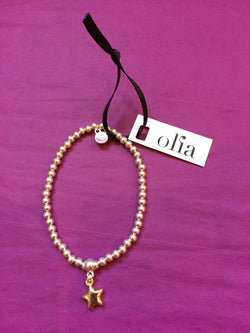 Olia Silver Bead and Gold Star Elasticated Bracelet