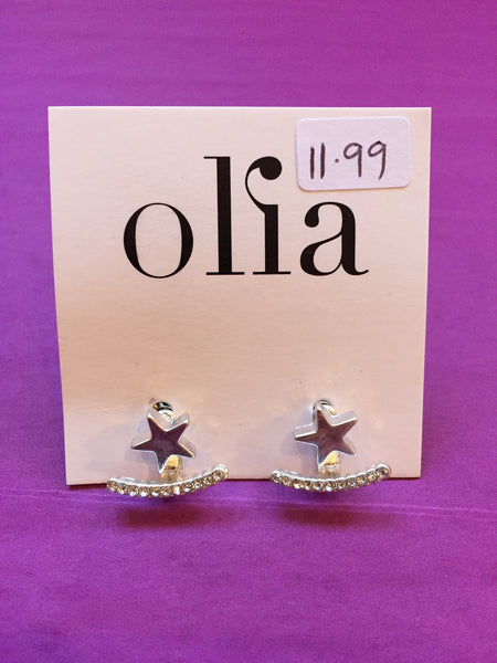 Olia Silver Star and Diamanté Bar Stud Earrings