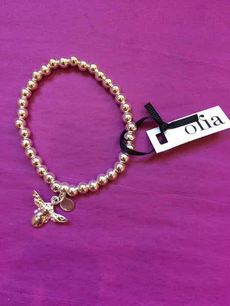 Olia Silver Bead & Bee Elasticated Bracelet