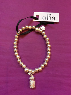 Olia Silver Bead and Pineapple Elasticated Bracelet