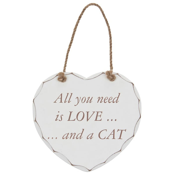 Shabby Chic Cat Hanging Wooden Wall Heart | Wysteria Lane