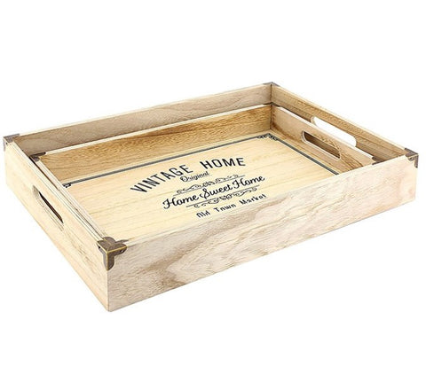 Vintage 'Home Sweet Home' Wooden Tray