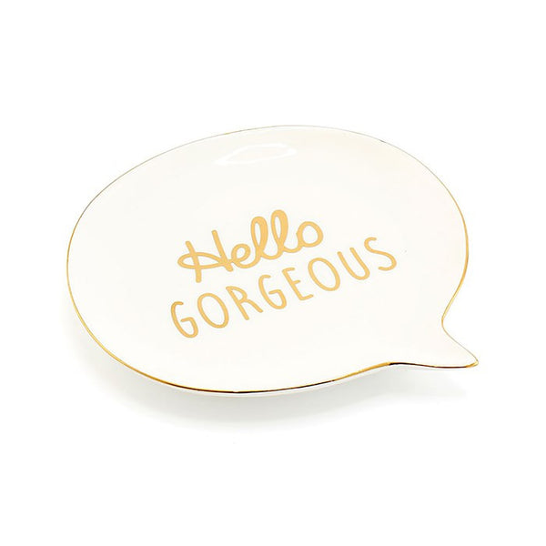 Hello Gorgeous Speech Bubble White and Gold Jewellery Dish