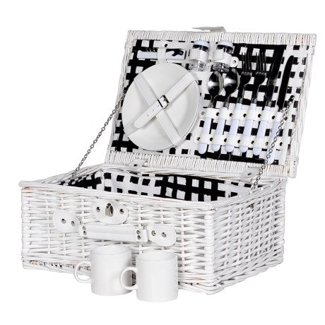 White Wicker Two Person Picnic Hamper Set | Wysteria Lane