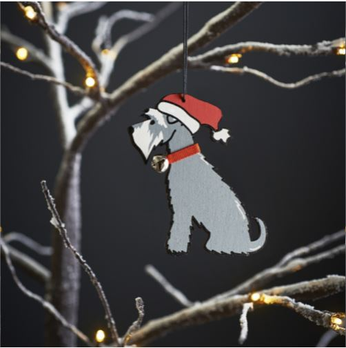 Grey Schnauzer Dog Christmas Tree Decoration by Sweet William