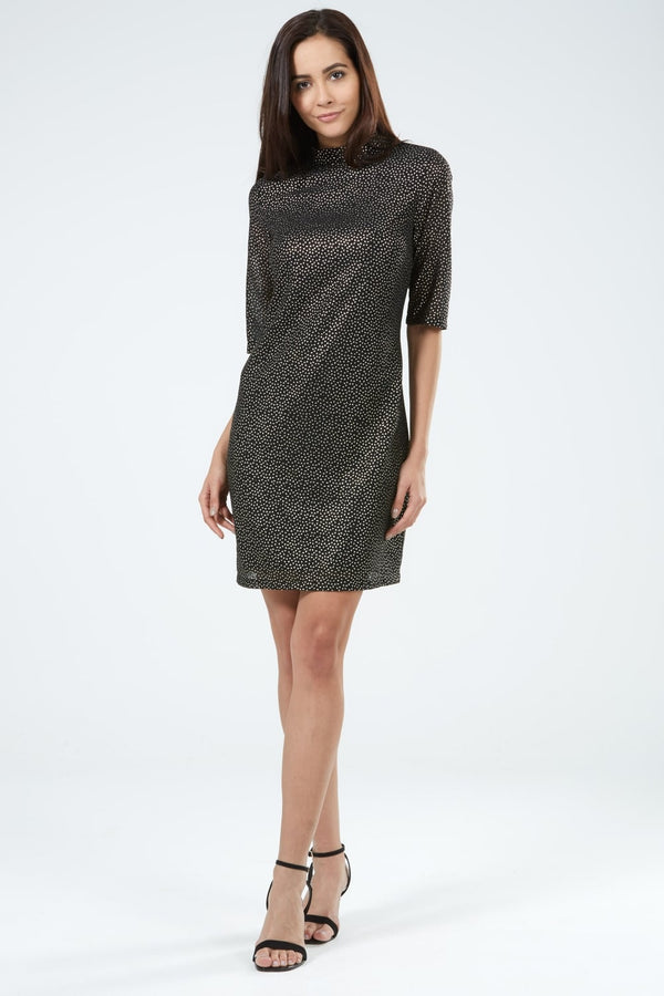 Sugarhill Boutique Shine On Gold Foil Geo Dress