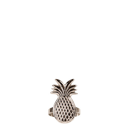 NO CHAOS & CO servetring pineapple tropical- zilver