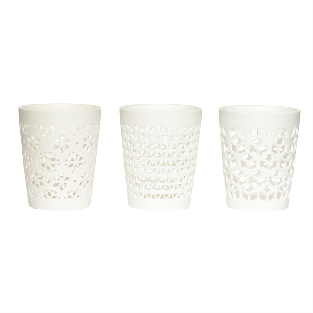 Hübsch Tealight holders ceramics white set of 3 - NO CHAOS & CO