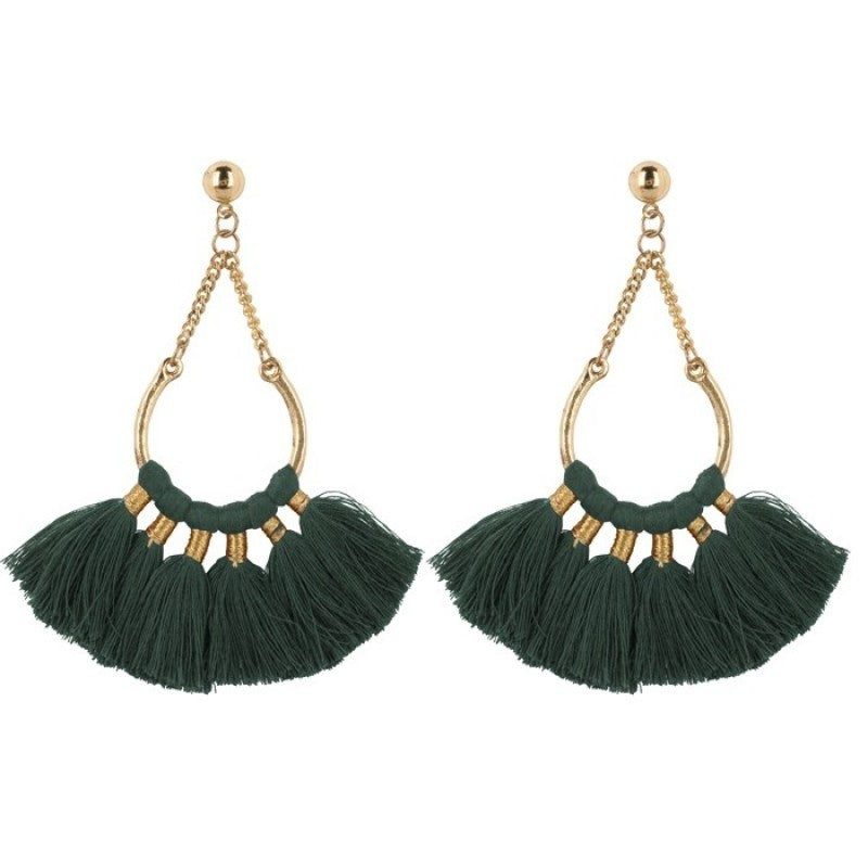 My Jewellery Boho Earrings - Dark Green Gold