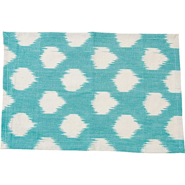 LIV Interior placemat IKAT 'I love you dot' - seagreen