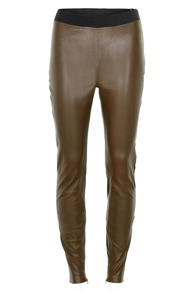 Stella Nova Leather Leggings - Pure Olive